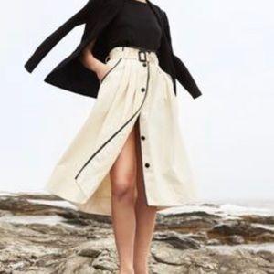 J. Crew Pleated Cone Denim midi skirt
